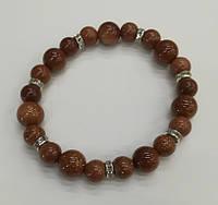 Браслет из Авантюрина Золотой Песок, натуральный камень, цвет коричнево-золотистый