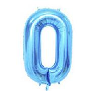 """Фольгированные воздушные шары, цифра """"0"""" ноль, размер 40 дюймов/102 см, цвет: синий, можно надувать гелием, 1"""