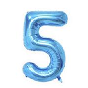 """Фольгированные воздушные шары, цифра """"5"""" пять, размер 40 дюймов/102 см, цвет: синий, можно надувать гелием, 1"""