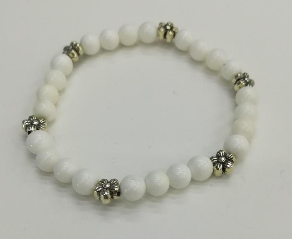 Браслет тонкий из Перламутра Чистота, цвет белый, натуральный камень, тм Satori \ Sb - 0142