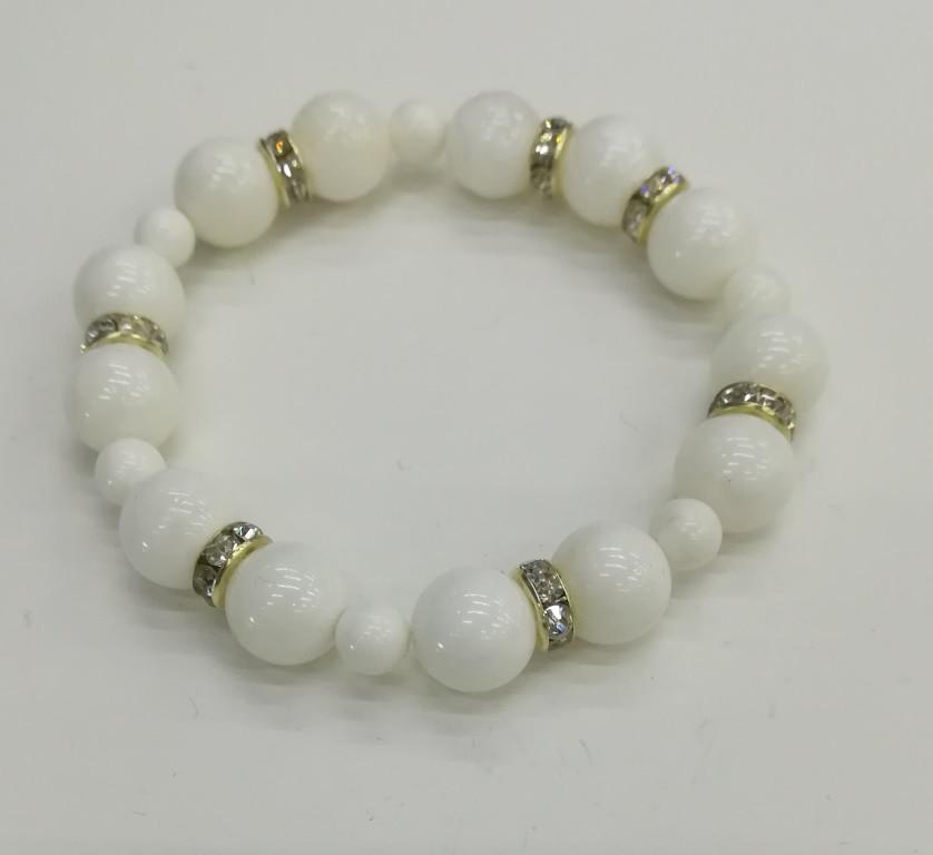 Браслет из Перламутра, цвет белый, натуральный камень, тм Satori \ Sb - 0143