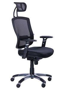 Кресло Коннект HR Алюм сиденье Сетка черная/спинка Сетка черная
