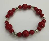 Браслет Коралловый, натуральный камень (грань), цвет красный и его оттенки
