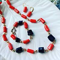 Комплект украшений из красного и черного  коралла
