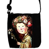 Черная сумка для девочки с принтом Девочка в веночке