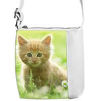 Белая сумка для девочки с принтом Рыжая кошка