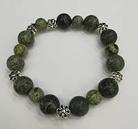 Браслет Змеевик, натуральный камень, цвет зеленый и его оттенки