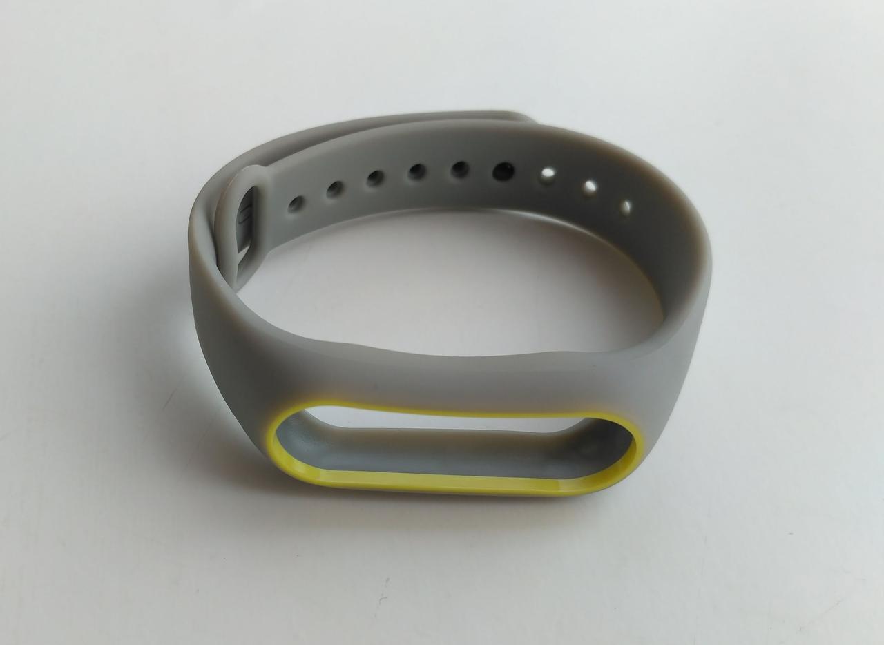 Ремешок Xiaomi Mi Band 2 MiJobs силиконовый с рамкой Серый / Желтый [1088]