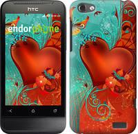 """Чехол на HTC One V t320e Сердце в цветах """"220u-227-5114"""""""