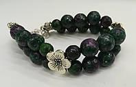 Браслет Цоизит двойной, натуральный камень, цвет зеленый и его оттенки