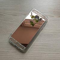 Зеркальный розовый силиконовый чехол с стразами для Samsung S7