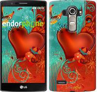 "Чехол на LG G4 H815 Сердце в цветах ""220u-118-5114"""
