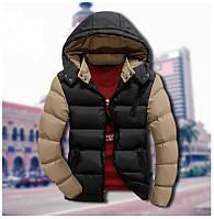 Мужская зимняя куртка черно-бежевого цвета