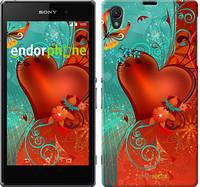 "Чехол на Sony Xperia Z1 C6902 Сердце в цветах ""220c-38-5114"""
