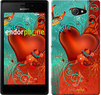 "Чехол на Sony Xperia M2 D2305 Сердце в цветах ""220c-60-5114"""