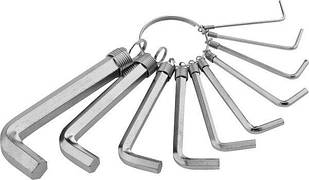 Набор ключей имбусовых HEX, 1,5–10 мм, CrV, 10шт.,никелированный, на кольце// SPARTA