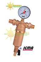 """Фильтр магистральный промывной ICMA 751 3/4"""" с манометром"""