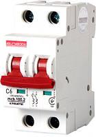 Модульный автоматический выключатель e.industrial.mcb.100.2.C6, 2 р, 6А, C,  10кА i0180010