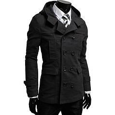 Элегантное двубортное кашемировое пальто с капюшоном