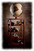Глобус Glowala 320мм стеллаж для вина 4-12 античный с подсветкой (русский язык)