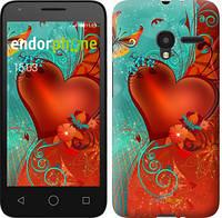 """Чехол на ALCATEL One Touch Pixi 3 4.5 Сердце в цветах """"220u-408-5114"""""""