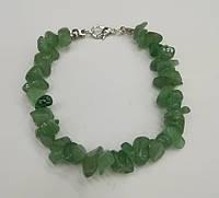 Браслет Нефрит крошка, натуральный камень, цвет зеленый и его оттенки
