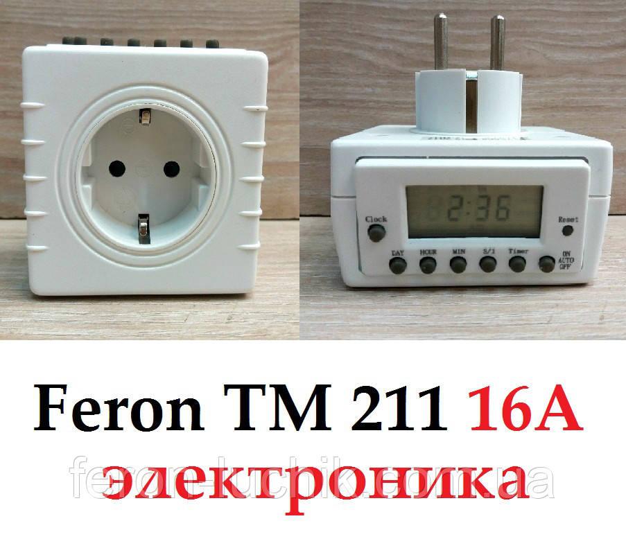 Розетка з таймером Feron TM211 16А тижнева електронна
