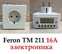 Розетка з таймером Feron TM211 16А тижнева електронна, фото 1