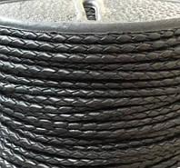 Шнур плетеный кожаный диаметр 3 мм черный