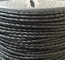 Шнур плетеный кожаный диаметр 2,5 мм и 3 мм черный
