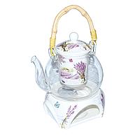 """Заварочный чайник стеклянный с подставкой 800 мл """"Прованс"""" ( заварник стеклянный )"""