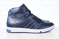 Мужские спортивные зимние ботинки, на меху, кожаные, синие