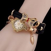 Наручные часы женские с черным ремешком Золотая бабочка код 331