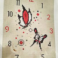 Схема для вышивки бисером часы с бабочками, полная зашивка