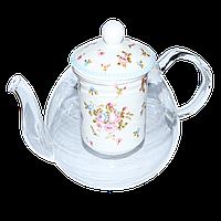 """Заварочный стеклянный чайник 850 мл с фарфоровым ситом """"Розочка"""" ( заварник стеклянный )"""