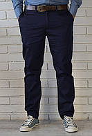 Классические мужские брюки чиносы темно-синего цвета