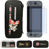 Защитный чехол-кейс для Nintendo Switch с принтами (рисунками) / Стекло в наличии /