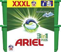 Капсулы для стирки белого Ariel Mountain Spring Pods 3 в 1 56 капс.