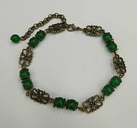 Браслет из Хризопраза бронза, натуральный камень, цвет зеленый и его оттенки