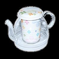 """Стеклянный заварник  950 мл с фарфоровым ситом """"Клевер"""" ( чайный заварник стекло )"""