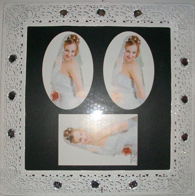 611-0005 Рамка 28х28 три фото, свадьба