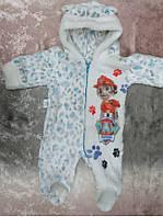 Комбинезон для мальчика на молнии из махры с капюшоном рисунок животных, одежда для новорожденных оптом