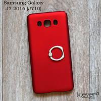 Пластиковый чехол накладка с кольцом для Samsung Galaxy J7 2016 (j710) (красный)
