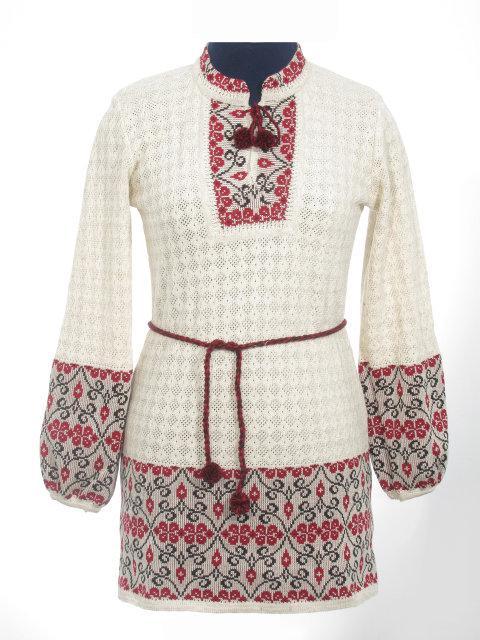 Вязаное платье Веночек красный со вставкой