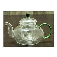 """Стеклянный заварник для чая с ситом """"Нефрит"""" 675 мл ( чайный заварник )"""