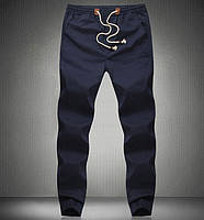 Удобные брюки из хлопкового материала темно-синие
