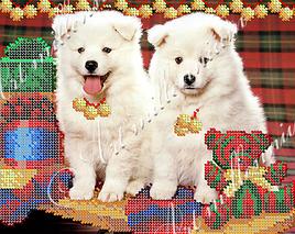 "Схема для вышивки бисером  W-522 ""Новогодние собачки"""