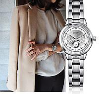 Стильные наручные женские часы с серебристым ремешком код 347