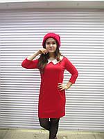 fe60ecd1dba Женское красное теплое платье с белым воротничком