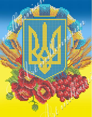 """Схема для вишивки бісером W-524 """"Герб України"""" вертикаль."""